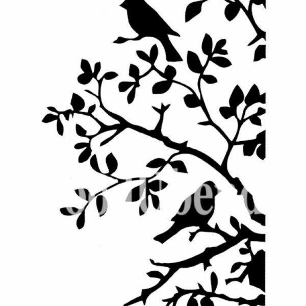"Stencil ""Birds and Branches"" - 21 x 30 cm"