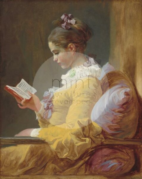 Decoupage Paper young girl with book