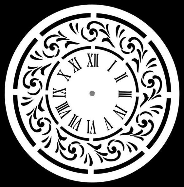 """Stencil """"Wonderland Clock"""" - 80 x 80 cm"""