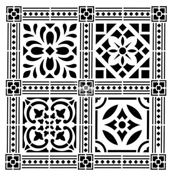 "Stencil ""Victorian Tile"" - 50 x 50 cm"