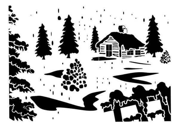 """Stencil """"Winter Wonderland"""" - 21 x 30 cm"""